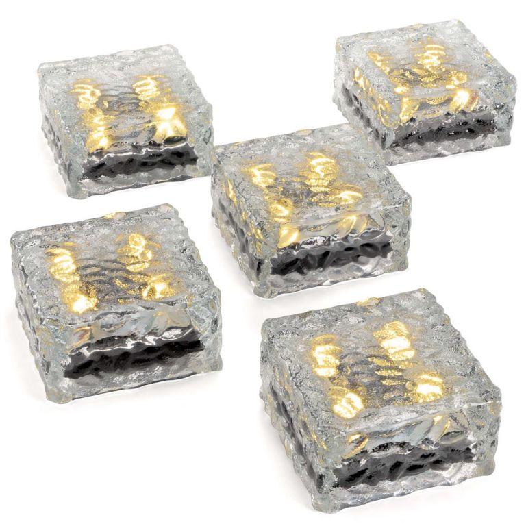 Sada 5 skleněných solárních cihliček – 4 LED, teplá bílá