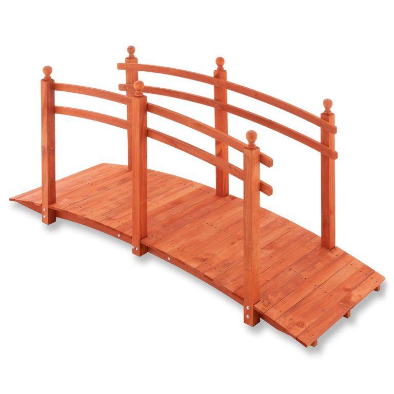 Zahradní dřevěný můstek se zábradlím – 235 x 75 x 109 cm