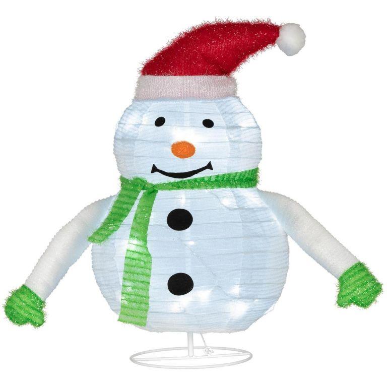 Vánoční dekorace - sněhulák, 30 LED, 58 cm