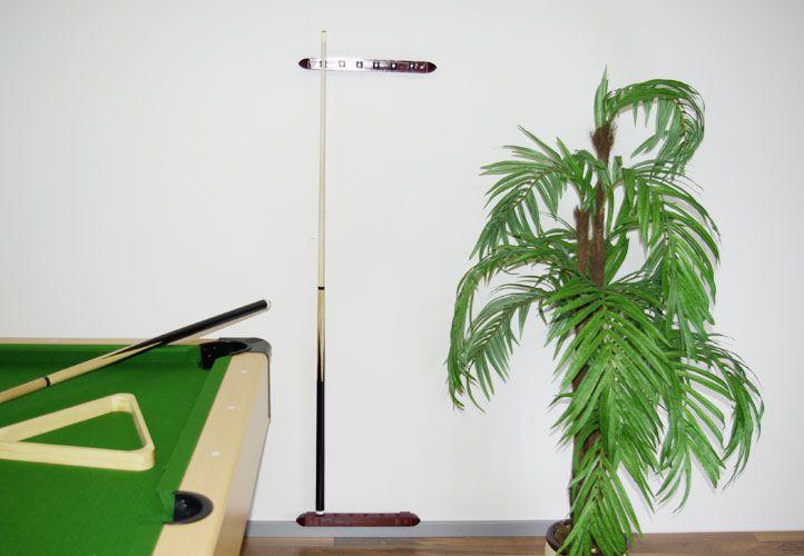 Kulečníkový držák na tága - na 6 tág tmavé dřevo 39 cm