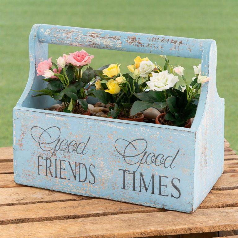 Dekorativní květinový box - 30 x 17 x 25 cm, modrý
