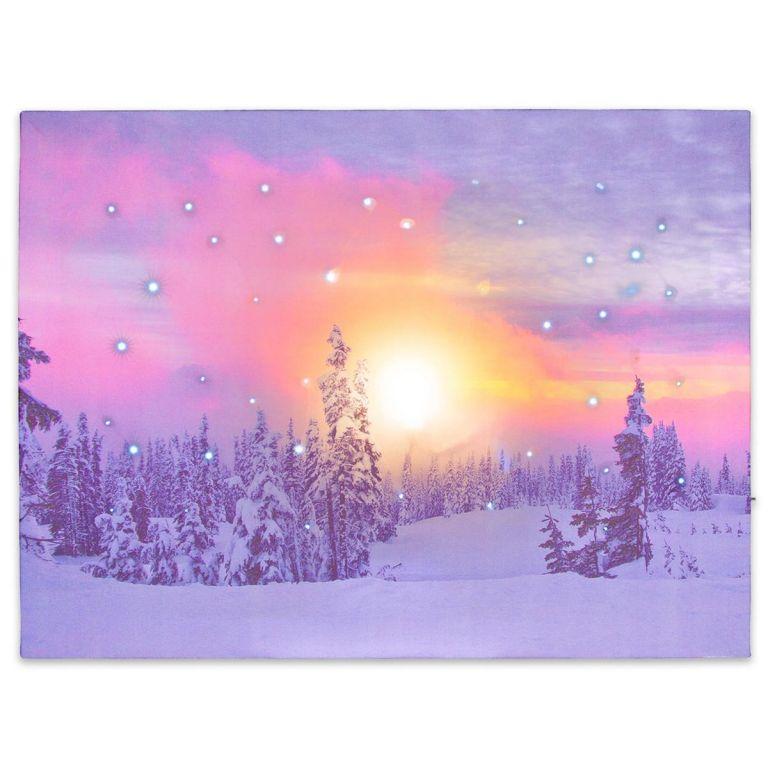 Nástěnná malba zasněžený les, 41 LED, 30 x 40 cm