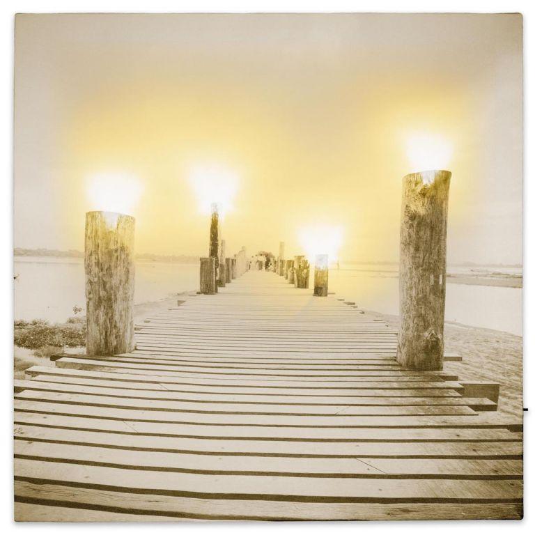 Nástěnná malba mlhavé ráno u jezera, 4 LED, 40 x 40 cm