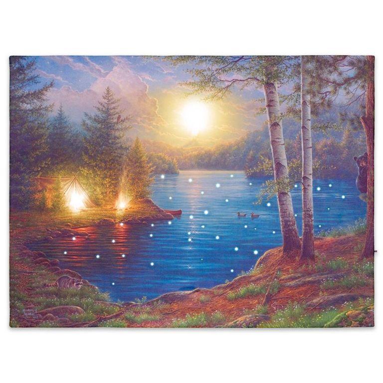 Nástěnná malba horské jezero, 43 LED, 30 x 40 cm