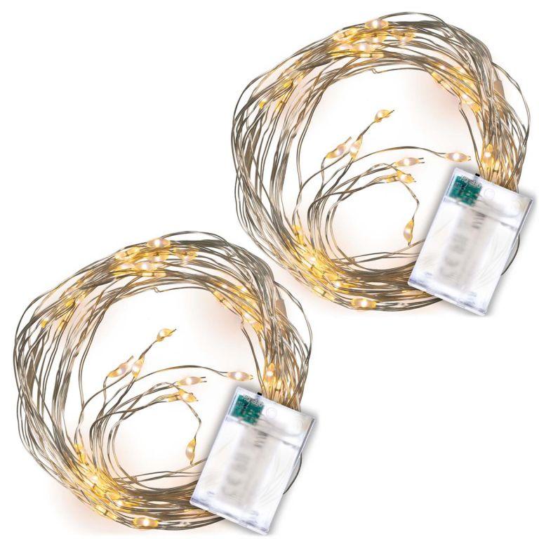 LED osvětlení stříbrný drát, sada 2 kusů, teple bílá, 64 LED