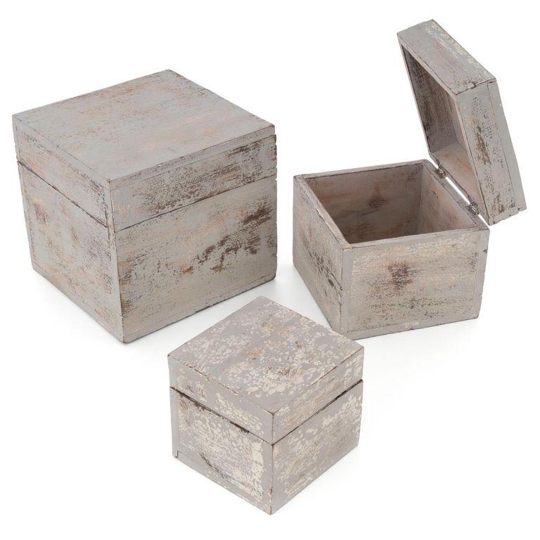 Dřevěné krabičky s víkem, sada 3 kusů, světle šedá