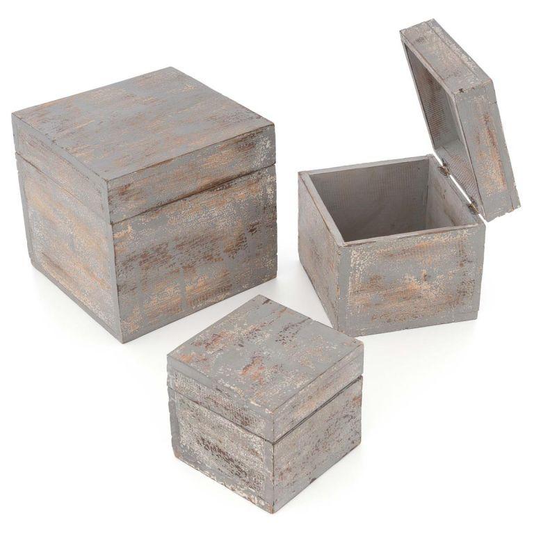Dřevěné krabičky s víkem, sada 3 kusů, tmavě šedá