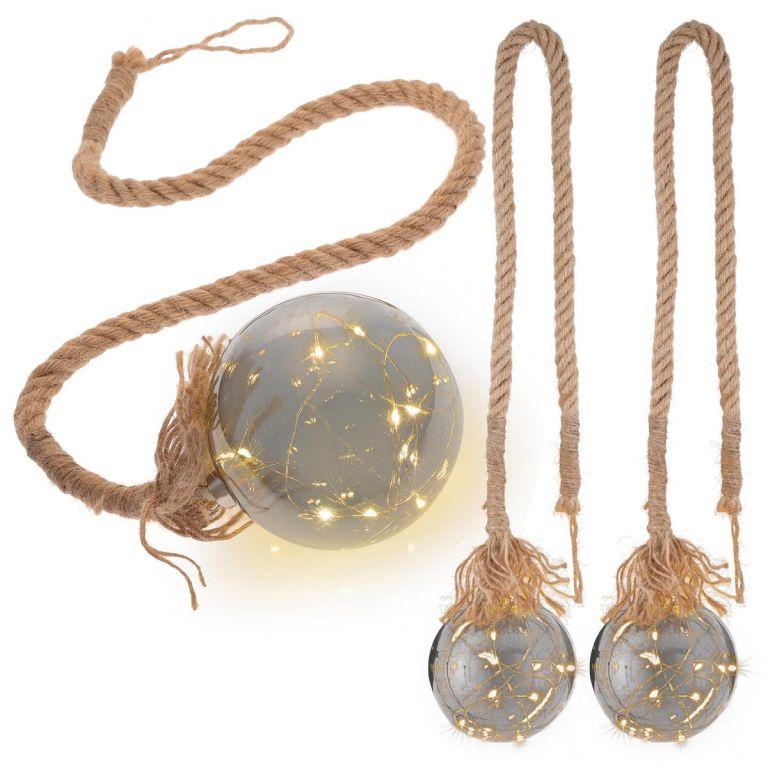 Vánoční dekorace koule na laně, 3 ks, 20 LED, teple bílá