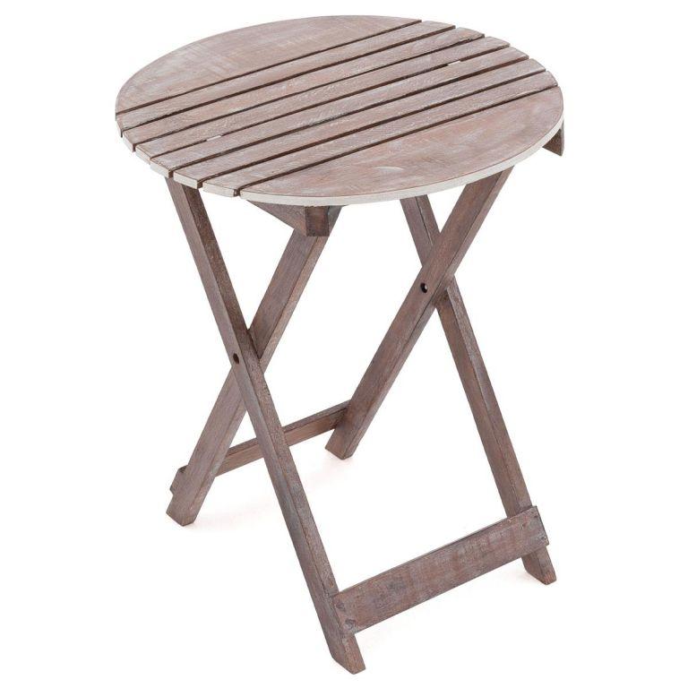 DIVERO zahradní sklopný stolek kulatý, 60 cm