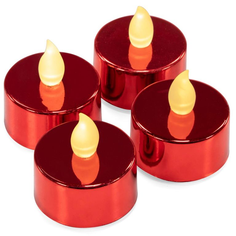 Dekorativní sada 4 LED čajových svíček na baterie, červené