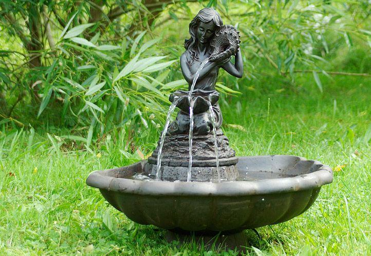 Zahradní kašna - fontána - ptačí lázeň, mořská panna