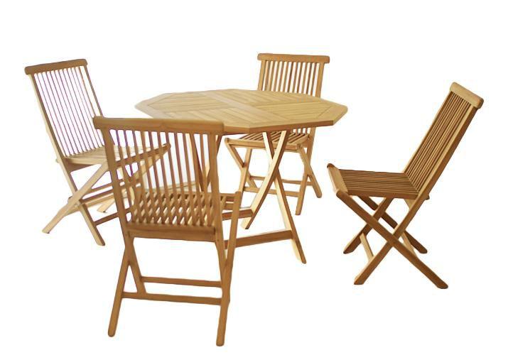 Zahradní set Gardenay z týkového dřeva, 1 stůl + 4 židle