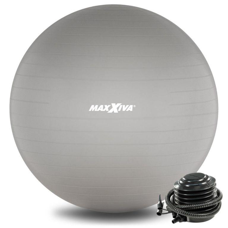 MAXXIVA Gymnastický míč Ø 65 cm s pumpičkou, stříbrný