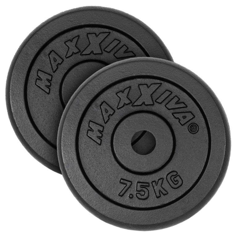 MAXXIVA Sada 2 závaží na činky celkem 15 kg, litina, černá