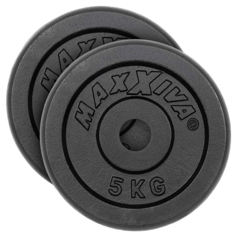 MAXXIVA Sada 2 závaží na činky celkem 10 kg, litina, černá