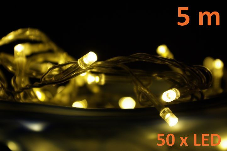Vánoční LED osvětlení 5 m – teple bílé, 50 diod