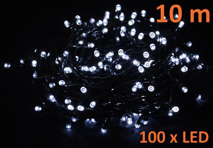 Vánoční LED osvětlení 10 m - studené bílé, 100 diod