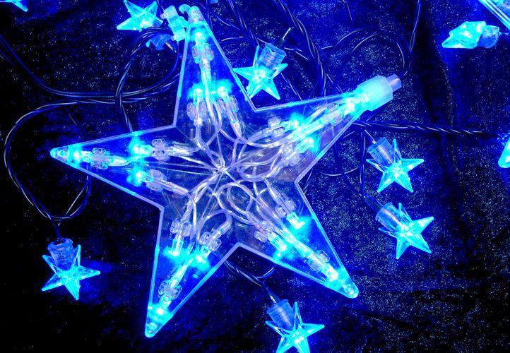 Vánoční dekorace - Svítící hvězdy - 100 LED diod MODRÉ