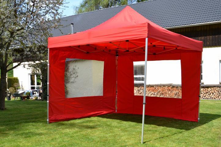 Zahradní párty stan nůžkový PROFI 3x3 m červený + 2 boční stěny