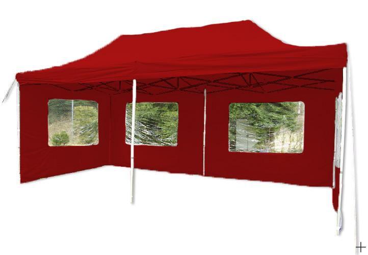 Zahradní párty stan nůžkový červený, 3 x 6 m