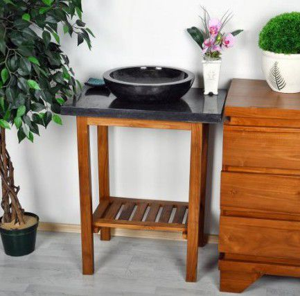 Koupelnový stolek pod umyvadlo DIVERO - teakové dřevo + mramorová deska