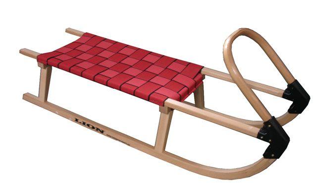 Sáně 110cm dřevěné  - červené