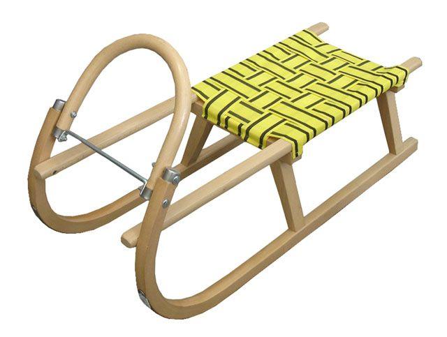Sáně 95 cm dřevěné  - žlutá