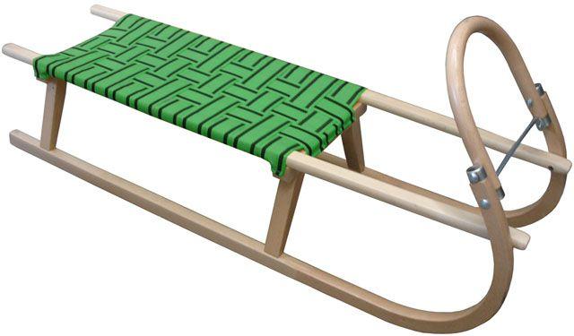 Acra sáně dřevěné s popruhy 125cm zelené
