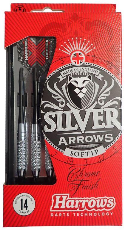 Šipky s plastovým hrotem HARROWS SOFT SILVER ARROW  14g