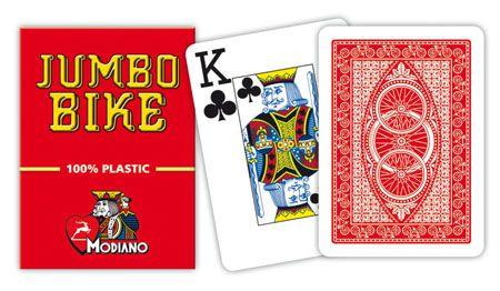 Modiano BIKE TROPHY 2 rohy 100% plastové karty – Červené