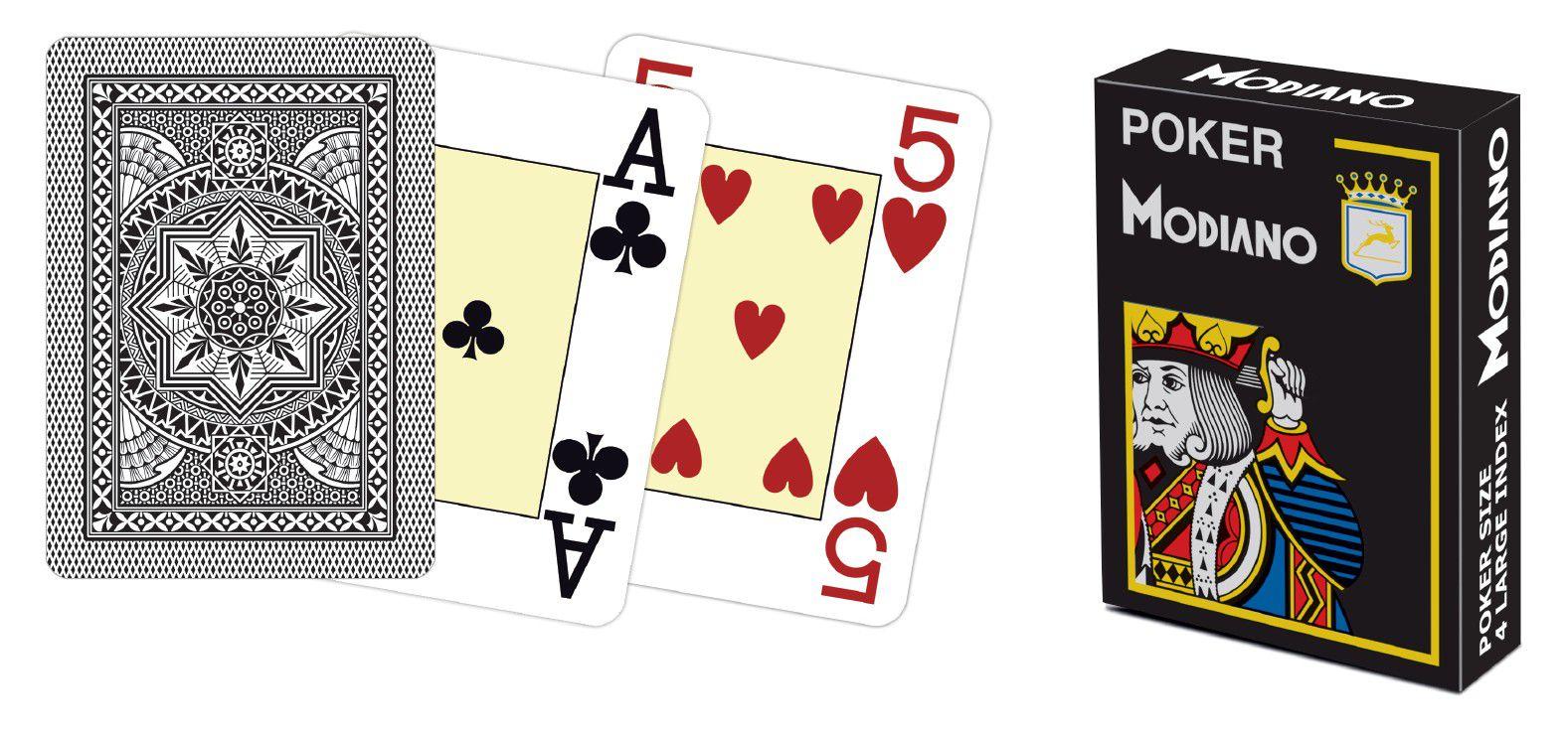 Modiano 4 rohy 100% plastové karty - černé