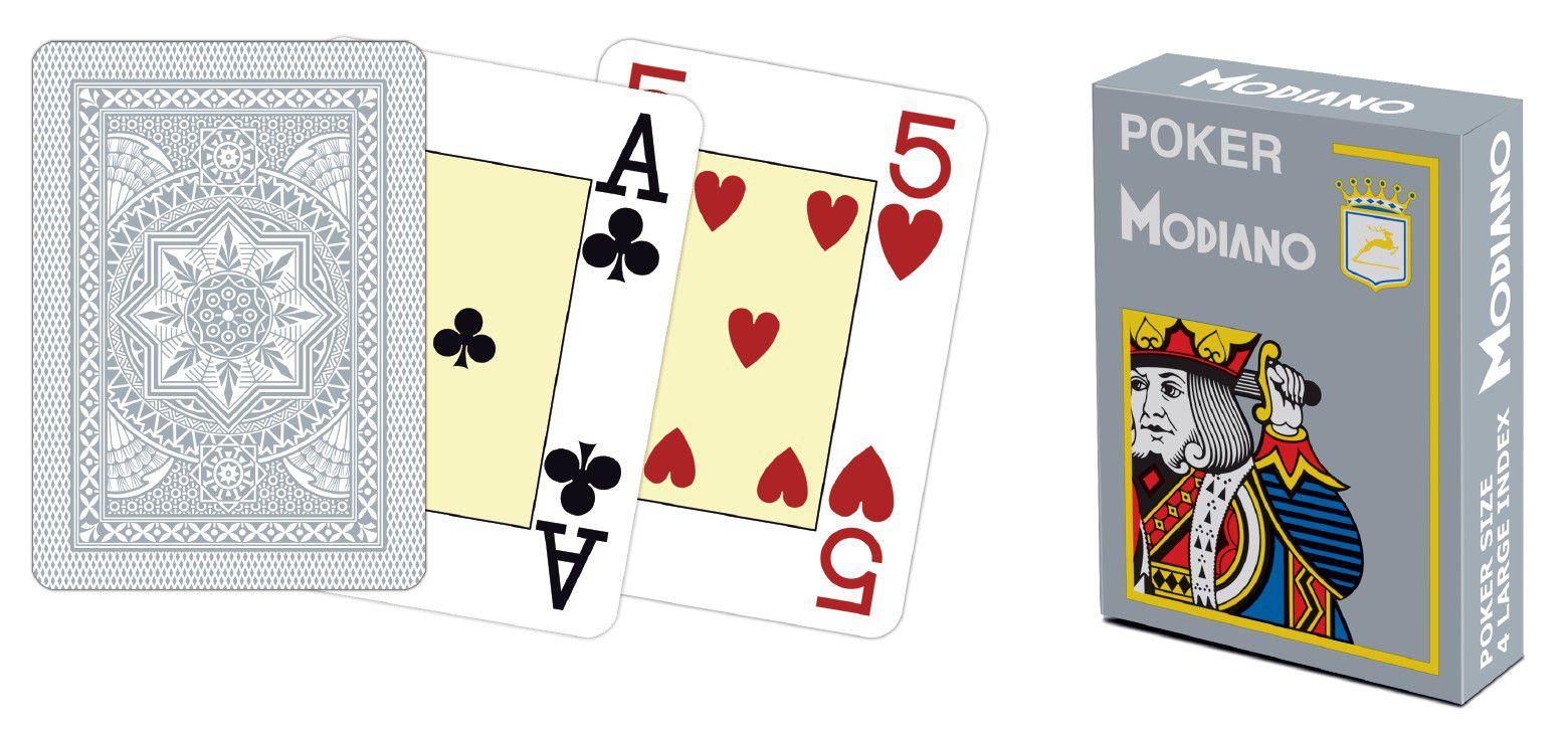 Modiano 4 rohy 100% plastové karty – šedé