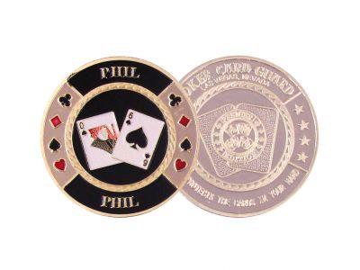 Poker guard Stříbrný ochranný žeton Q6 -Phil