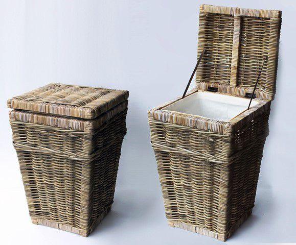 Ratanový prádelní koš - rustikální šedivý ratan