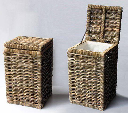 ratanový prádelní koš - rustikální šedivý ratan - II.