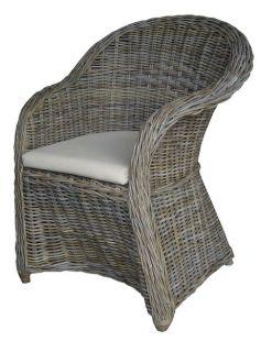Atypické ratanové křeslo JIMBARAN - šedivý ratan