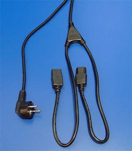 Kabel síťový Roline 220V rozdvojka na 2x PC 220V 3pin(F)
