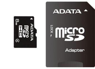 Paměťová karta Adata MicroSDHC 8GB Class4 + adaptér