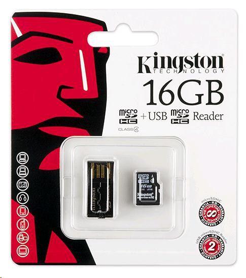 Paměťová karta Kingston microSDHC Class 4 16GB + adaptér