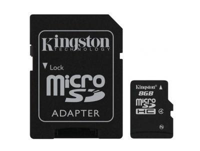 Paměťová karta Kingston microSDHC Class 4 8GB + adaptér