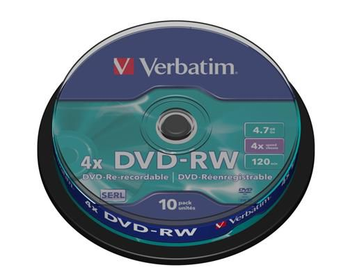 Médium Verbatim DVD-RW 4,7GB 4x 10-cake