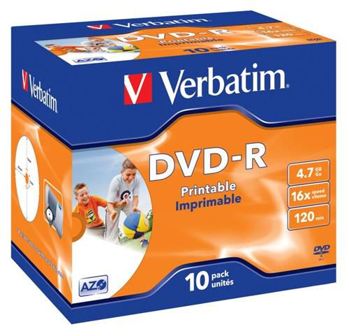 Médium Verbatim DVD-R 4,7GB 16x Printable jewel