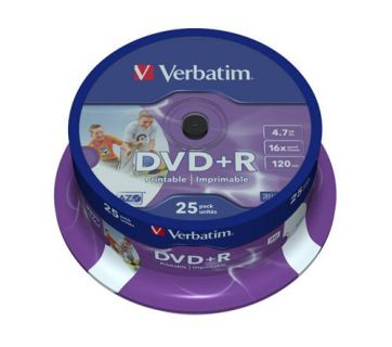 Médium Verbatim DVD+R 4,7GB 16x Printable 25-cake