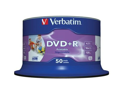 Verbatim DVD+R 4,7GB 16x, printable, 50ks (43512)