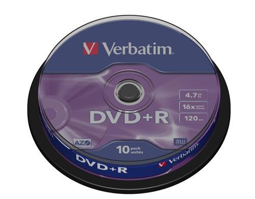 Médium Verbatim DVD+R 4,7GB 16x 10-cake