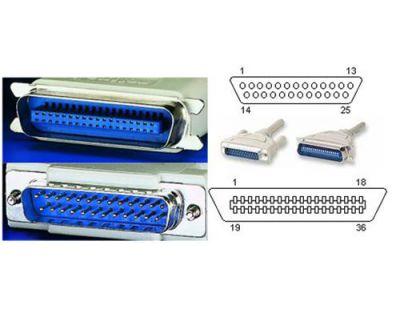 Kabel Roline k tiskárně MD25 - MC36, 25žil, lisovaný, 9m, šedý, pro paralelní přenos dat