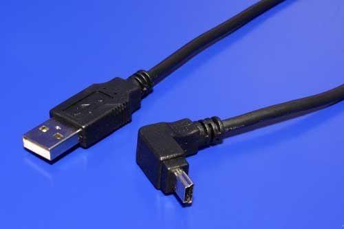 Kabel USB A(M) - miniUSB 5pin B(M), 1,8m, lomený 90°