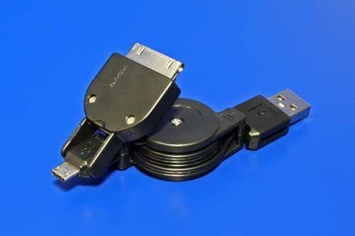 Kabel Value USBA(M)-microUSB B(M), 5pinů s redukcí na Samsung Galaxy, 0,7m, svinovací, plo