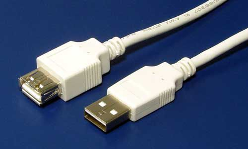 Kabel Value USB 2.0 prodlužovací A-A 3m, bílý/šedý