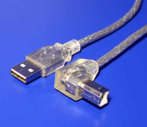 Kabel USB A-B 0,5m USB 2.0, zalomený konektor B, transparentní